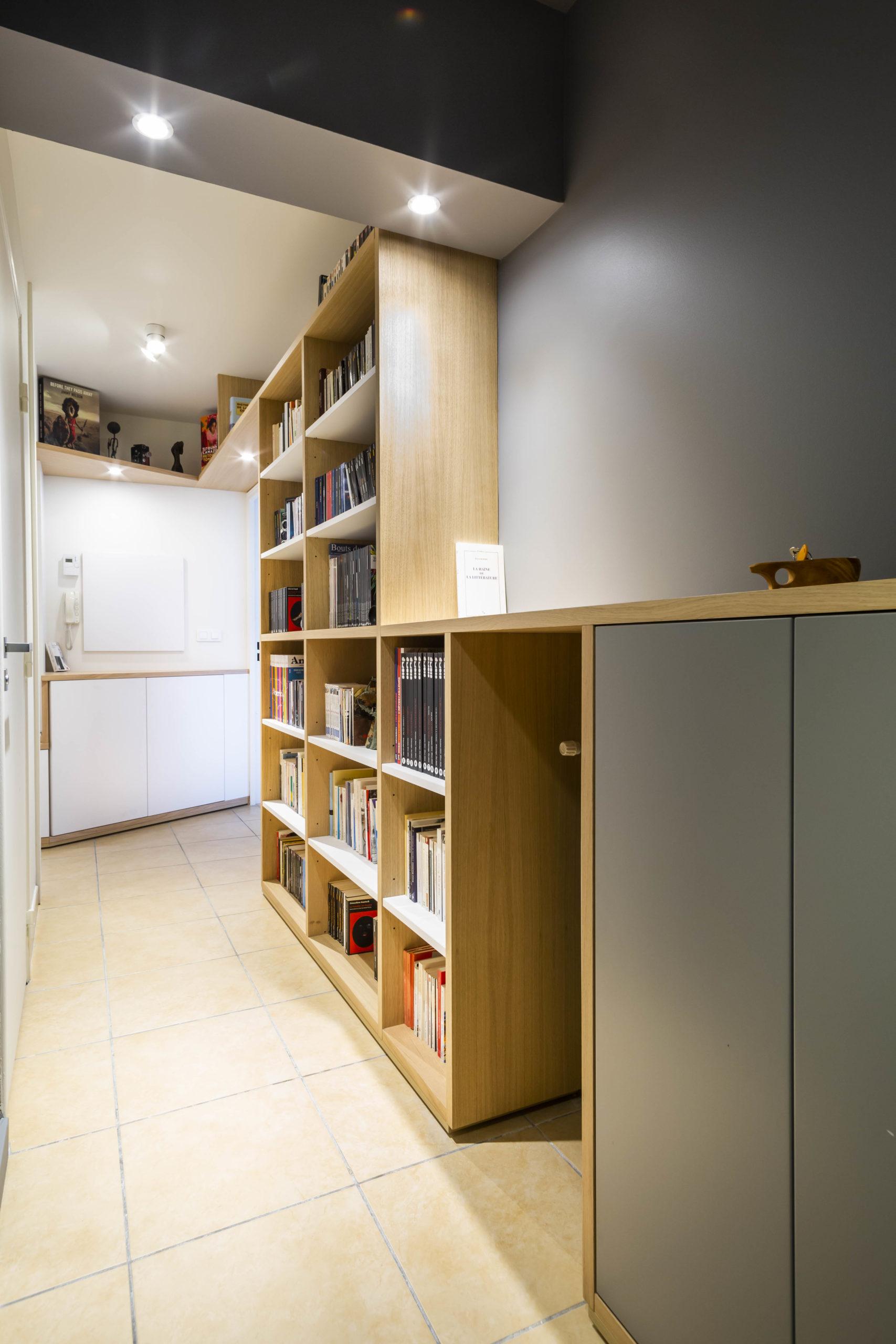 Atelier Plurielles Architectures Réaménagement appartement Anglet - bibliothéque