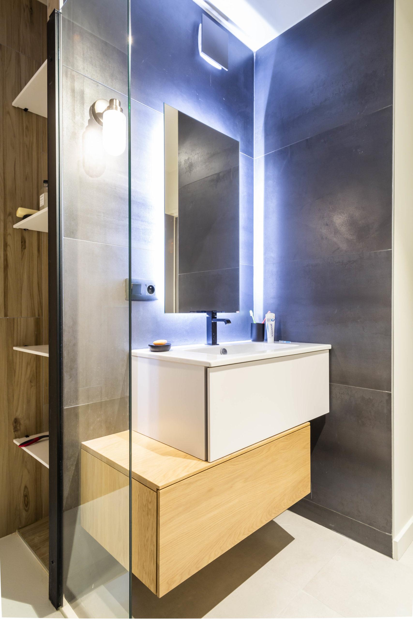 Atelier Plurielles Architectures Réaménagement appartement Anglet - lavabo