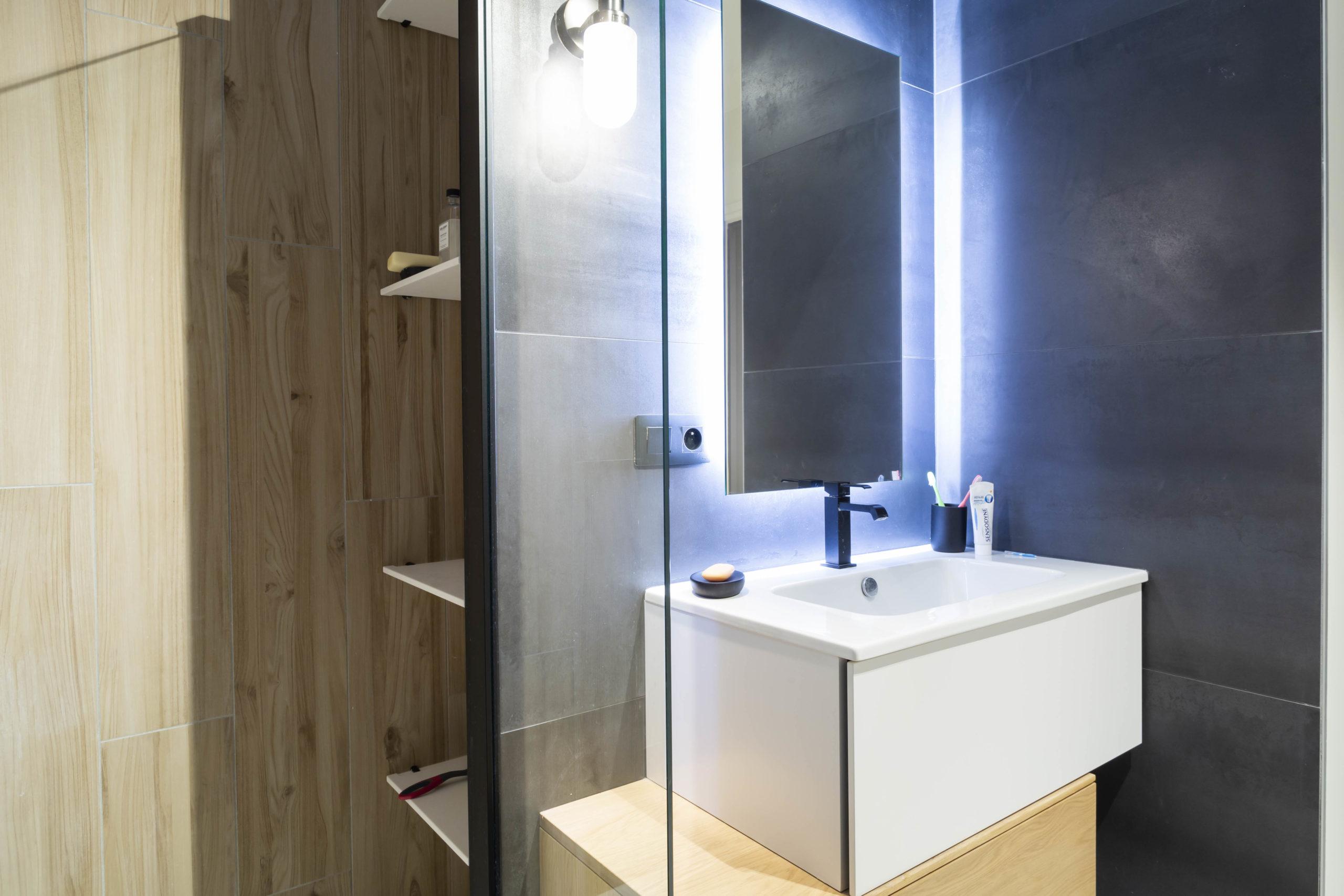 Atelier Plurielles Architectures Réaménagement appartement Anglet - salle de bain